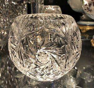 "Cut LED Crystal -4.5"" VASE-ROSEBOWL- HANDCUT, MOUTHBLOWN"