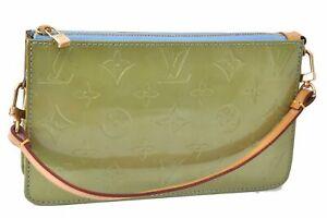Authentic Louis Vuitton Vernis Lexington Pouch Green LV C5239