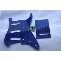 Set Blue Guitar Pickguard Back Plate Tremolo Cover For Fender Strat Stratocaster