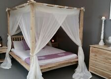 Balinese Queen Rumple Four Poster Bed Canopy Muslin Mosquito Net 155 X 205cm