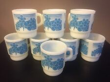 Lot Of 7 Vintage Anchor Hocking Coffee Mugs, Blue Daisies, Daisy, Floral, Flower