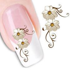 2X Adesivo sticker Fiori Bianchi nail art decorazioni unghie trasferimento acqua