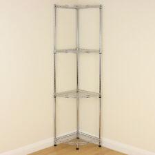 4 Tier Chrome Metal Corner Storage Rack Wire Home/Bathroom Display Unit Shelving