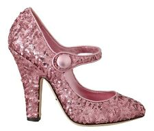 DOLCE & GABBANA Shoes Leather Pink Sequined Mary Janes EU38.5 / US8 RRP $660