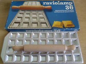 Vintage Raviolamp 36 Ravioli Cutter Metal Square Pan Pasta Mould + Rolling Pin