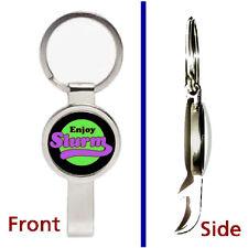 Futurama Enjoy Slurm Pendant or Keychain silver tone secret bottle opener