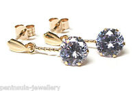 9ct Gold Lilac round CZ Drop earrings Made in UK Gift Boxed