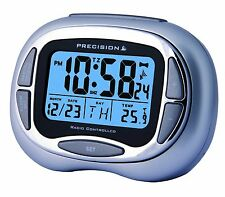 PRECISION RADIO CONTROLLED ALARM CLOCK WITH DAY,DATE,MONTH & TEMP BLUE PREC0100