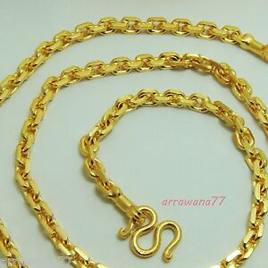 """7 MM Men's Chain 24K 23K Thai Baht Gold Filled Yellow GP Necklace 28""""Jewelry"""