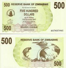 Zimbabwe $ 500 Dollars Bearer Cheque Uncirculated Bundle 100 PCS