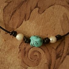HANDMADE MACRAME LEATHER WHITE DOUBLE PEARL & TURQUOISE NUGGET NECKLACE