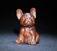 noble natural boxwood carved Lovely dog statue Japanese Netsuke decor figurine