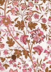 100% Cotton Fabric Interiors Vintage Sanderson 'Kandahar' Pink White Brown