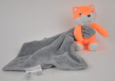 CARTER'S Orange FOX Plush RATTLE Gray SECURITY Blanket LOVEY Cuddle L31251H Euc