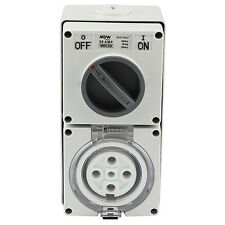 SWITCHED SOCKET OUTLET COBINATION 50 AMP 500V 5 ROUND PIN IP66 S.S.O