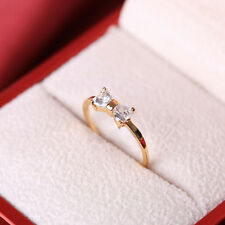 Wedding Golded Woman's Crystal Plated Bow Finger Ring engagement Zircon Ring