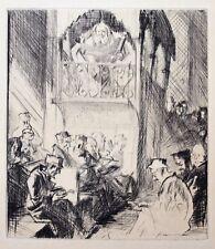 Frank William Brangwyn RA RWS RBA (1867-1956) Drypoint etching, Synagogue. 1931