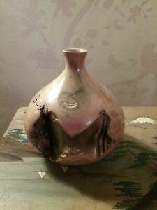 """Hand turned 'Myrtle Burl wood bud vase Tasmanian woodcraft  6"""" tall"""