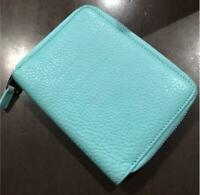 Tiffany & Co. Leather Blue Wallet Credit Card Case Holder Zip Around A [H]