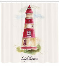 Watercolor Artsy Lighthouse Print Vintage Nautical Decor Shower Curtain Set