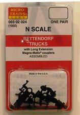 NEW Micro-Trains 00302024 Bettendorf Trucks Long Extension Couplers 1 Pr