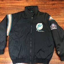 Vintage Pro-Player NFL Miami Dolphins 80s 90s Winter Jacket Size L Warm Sewn Blk