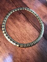 """Vintage 18"""" Thick Chunky Flat Gold 1/2 Inch Wide Chain Necklace Biz Clasp"""
