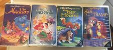 Disney Vhs Lot of 4 Aladdin, Lady & Tramp, Little Mermaid And Fox & Hound