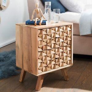 WOHNLING Nachtkonsole REWA Nachttisch Boxspringbett Nachtkästchen Holz Massiv