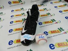 ONE AUTOGRAPHED GAME CLEAT  WORN BY UNKNOWN PLAYER AND BASEBALL