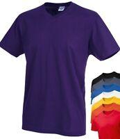 Mens Mans Plain Cotton Basic Vee V-Neck Tee T-Shirt Tshirt S-XXL