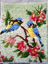 Charming Wool Needlepoint Blue-Tit Birds in Pink Apple Blossom - Picture/Panel