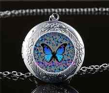 Blue Butterflies Cabochon Glass Tibet Silver Locket Pendant Necklace