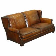 VERY COMFORTABLE RRP £16,500 RALPH LAUREN BROWN LEATHER SOFA FEATHER CUSHIONS