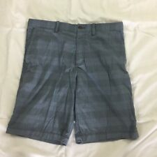 Tommy Bahama Casual Golf Shorts Plaid Print Size 32 Stretch Blue