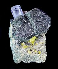EXQUISITE AQUAMARINE & TITANITE on QUARTZ w/ MOLYBDENITE (Tucson Mineral Show!)