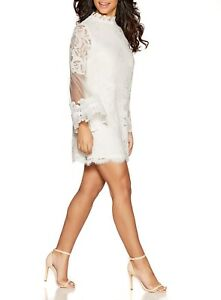 QUIZ FAB WHITE LACE BELL SLEEVE EVENING PARTY HOLIDAY DRESS SIZE 12 14