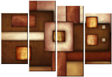 Large Brown Abstract Rectangles Squares  Canvas Picture Multi Split 4 piece 40""