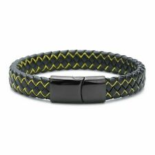 Braided Men's Bracelet with Stainless Steel Magnetic Closure IN Black/Yellow