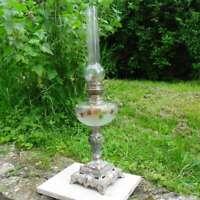 Antigua Lámpara Petróleo Decoración Flor, Finales S.XIX