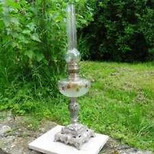 Ancienne Lampe à pétrole décor fleur, fin XIXe