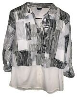 Attention Button Up Long Sleeve Blouse White Striped Top Stretch Women's Size XS
