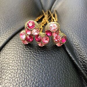 5 Bridal Wedding Prom Pink, Fuchsia, Baby Pink Crystal  Diamante Hair Pins