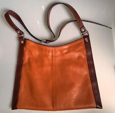 7469031e43ba5 edle Handtasche von VOGT of Florence braun flach Leder Schultertasche  vintage