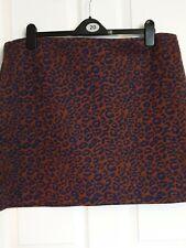 Marks & Spencer Animal Print Skirt Elastic Waist  Stretch Brown / Blue Size 20