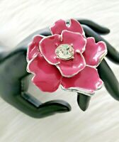 Pink Enamel Flower with Clear Rhinestone Adjustable Statement Ring *HUGE*