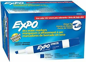 Expo Chisel Dry Erase Markers for Whiteboards (80003) Blue, 12 Count