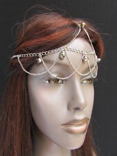 Women Silver Metal Head Chain Roman Style Small Shiny Beads Bling Sexy Strands