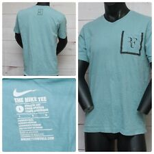 Nike Roger Federer RF Men's Size LARGE Green | White V-Neck T-Shirt