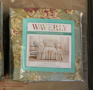 """Waverly Chair Cover Ballad Bouquet In Robins Egg Fits 32"""" To 43"""" New"""